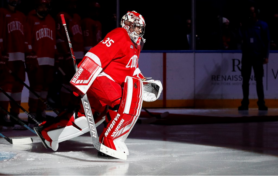 Cornell hockey player on ice